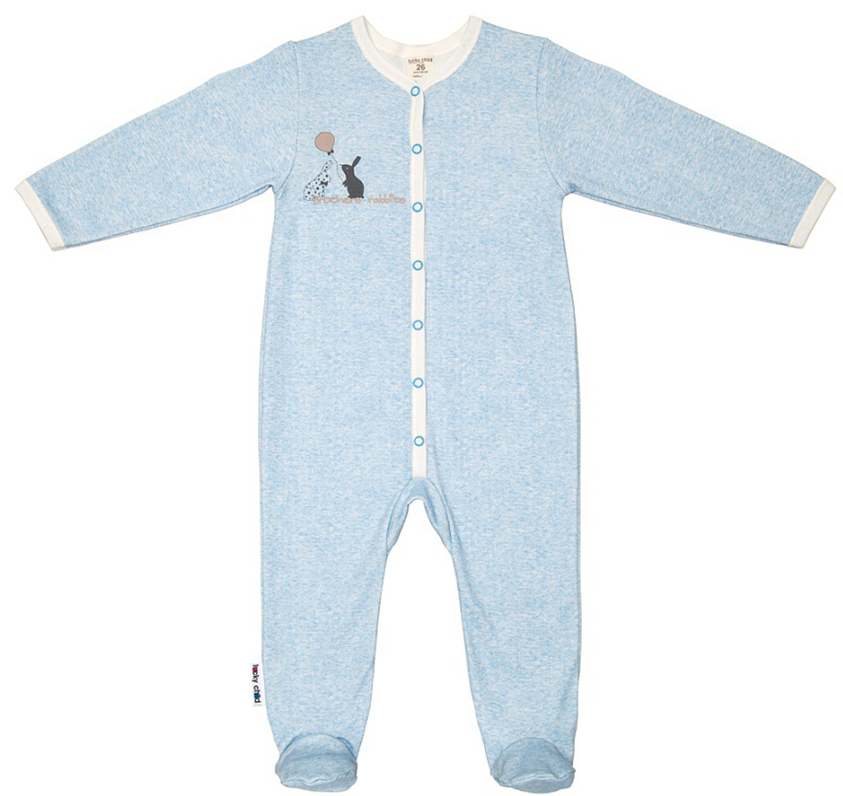 Комбинезон домашний детский Luky Child, цвет: голубой. А1-103/голубой. Размер 56/62А1-103/голубойДетский комбинезон Lucky Child - очень удобный и практичный вид одежды для малышей. Комбинезон выполнен из натурального хлопка, благодаря чему он необычайно мягкий и приятный на ощупь, не раздражают нежную кожу ребенка и хорошо вентилируются, а эластичные швы приятны телу малыша и не препятствуют его движениям. Комбинезон с длинными рукавами и закрытыми ножками имеет застежки-кнопки, которые помогают легко переодеть младенца или сменить подгузник. С детским комбинезоном Lucky Child спинка и ножки вашего малыша всегда будут в тепле, он идеален для использования днем и незаменим ночью. Комбинезон полностью соответствует особенностям жизни младенца в ранний период, не стесняя и не ограничивая его в движениях!