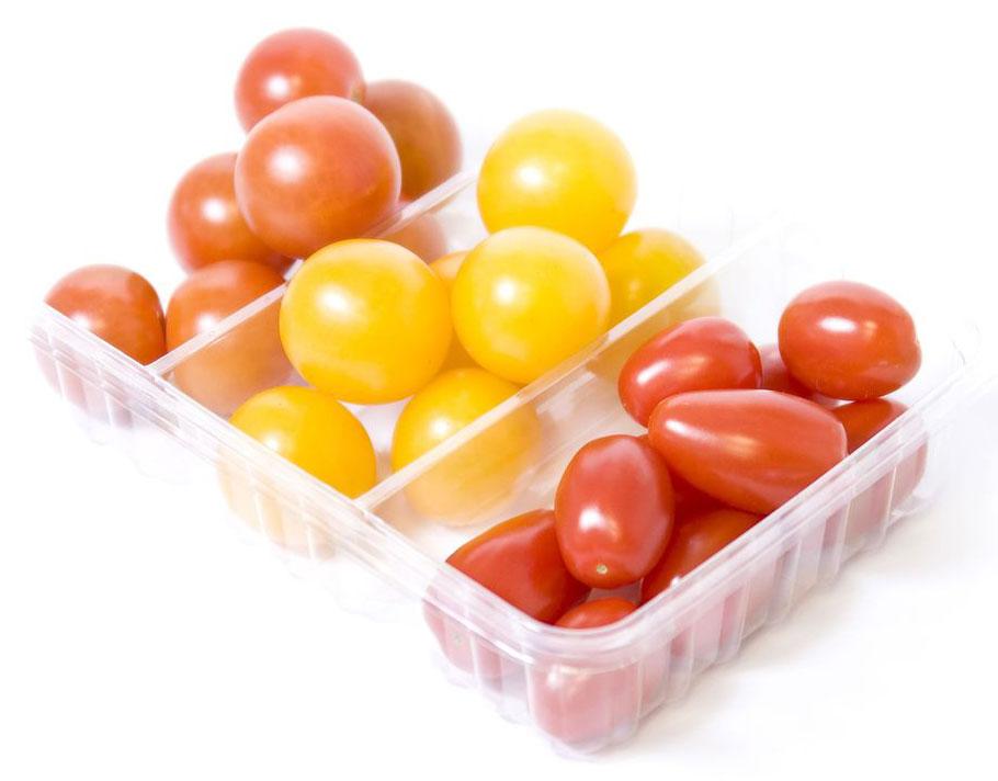 Томаты Черри Трио, 300 г2310Томаты Черри Трио используются в качестве закуски, для приготовления различных салатов и для консервирования. Содержат как минимум в полтора раза больше ценных веществ (глюкозы, фруктозы, витаминов, минералов), чем обычные помидоры.