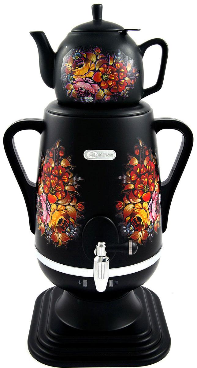 Добрыня DO-416 электрический самоварDO-416Самовар Добрыня DO-416 станет прекрасной альтернативой обычному чайнику, украшенный росписью в исконно-русском стиле, он сделает ваш интерьер оригинальным и подчеркнет принадлежность к русской культуре. Кроме того, данная техника, обладает рядом технических преимуществ: двойные стенки, наличие заварочного чайника, несколько температурных режимов, встроенный термостат – все это значительно упрощает процесс использования самовара. Вода в самоваре нагревается максимально быстро, и ее температура удерживается длительно время. Самовар Добрыня станет прекрасным и оригинальным подарком к любому празднику!Керамический заварочный чайник объемом 1 литр со сменным моющимся фильтром из нержавеющей стали в комплекте.