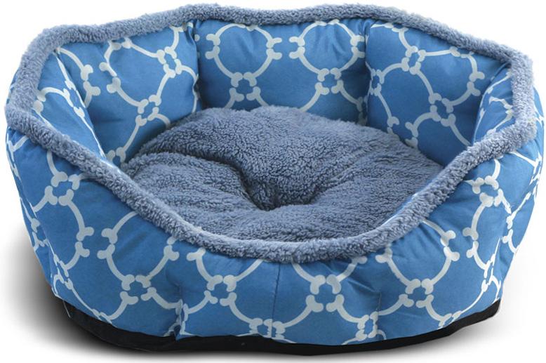 Лежанка для животных Triol Лазурный берег, овальная, цвет: голубой. Размер S, 45 x 40 x 14 см лежанка для животных gamma конфетти лазурь круглая 40 x 40 x 14 см