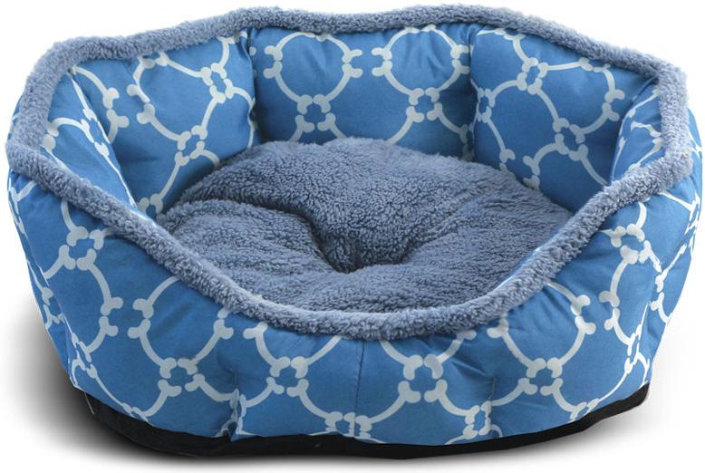 Лежанка для животных Triol Лазурный берег, овальная, цвет: голубой. Размер M, 57 x 52 x 14 см лежанка для животных gamma конфетти лазурь круглая 40 x 40 x 14 см
