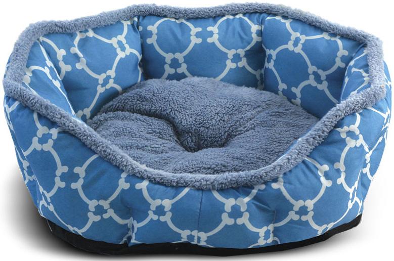 Лежанка для животных Triol Лазурный берег, овальная, цвет: голубой. Размер L, 70 x 65 x 14 см контейнер лазурный берег конт кр65