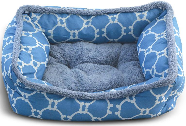 Лежанка для животных Triol Лазурный берег, прямоугольная, цвет: голубой. Размер M, 61 x 48 x 18 см лежанка для животных gamma конфетти лазурь круглая 40 x 40 x 14 см