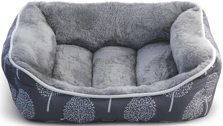 Лежанка для животных Triol Сказочный лес, прямоугольная, цвет: серый. Размер M, 620 x 530 x 240 мм поводки triol поводок со светоотражающей строчкой серый размер m 20 x 1200мм