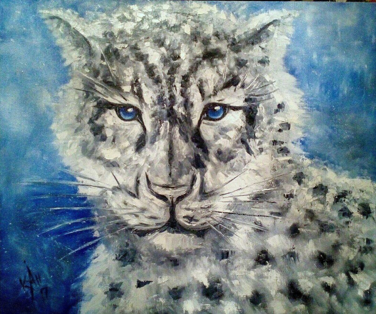 Картина Барсик, льняной холст, масло, 50 х 60 смК020Авторская картина Снежный барс, написана маслом на холсте, размер 50х60. Прекрасная интерьерная картина с характерным животным, украсит дом, квартиру или офис.