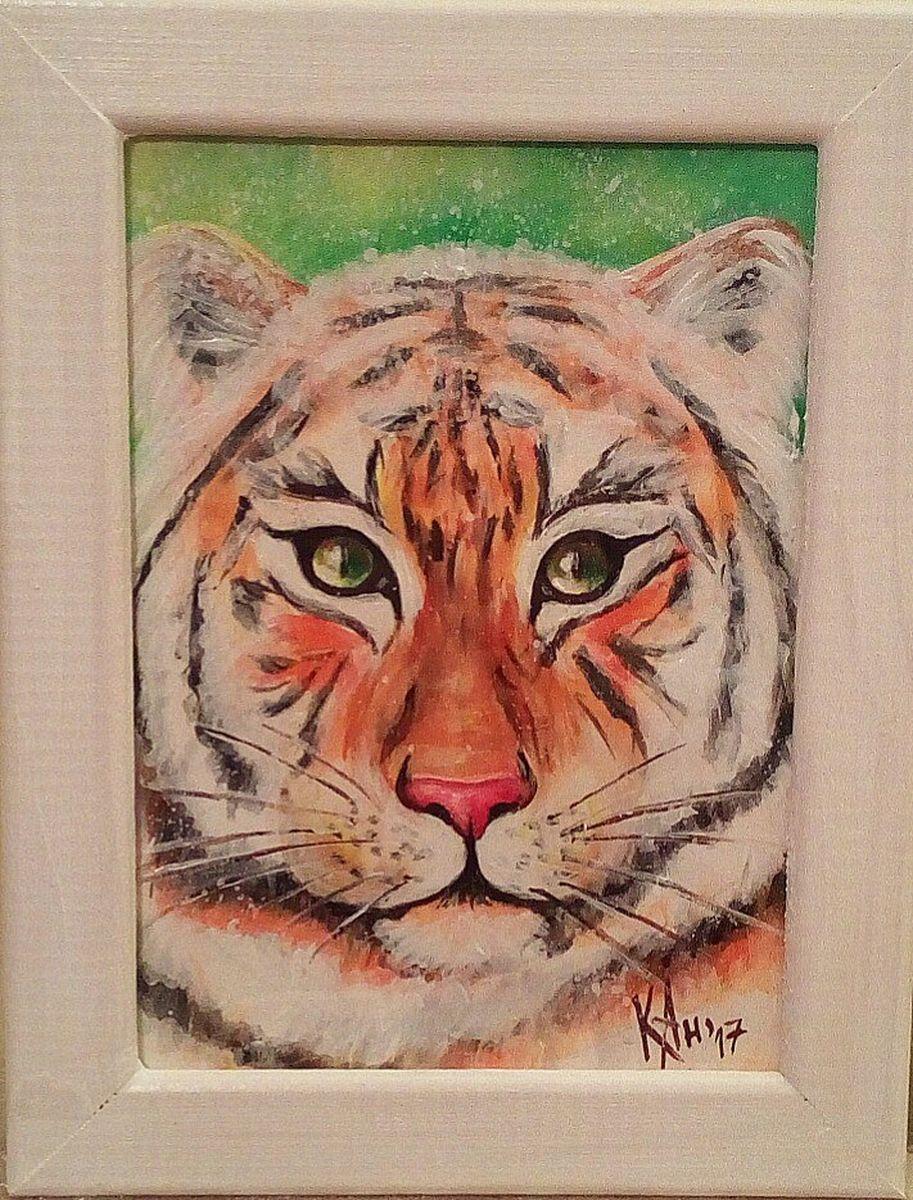Миниатюра живописная Тигр, аварельная бумага, акрил, лак, рамка со стеклом, 18 х 23 смМ014Авторская миниатюра Тигр, написана акрилом на акварельной бумаге, защищена лаком. Оформлена в рамку со стеклом. Размер 13х18. Миниатюра с характерным тигром, украсит интерьер дома.
