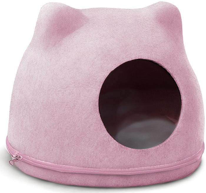 Домик для кошек Triol Кошкин дом, цвет: розовый, 340 x 430 x 340 мм31911008Оригинальный домик с ушками не только оживит интерьер, но и порадует вашего питомца. Изделие выполнено из войлока - натурального материала, который одновременно удерживает тепло и хорошо пропускает воздух. В нем питомцу будет тепло зимой и не жарко летом. Для дополнительного комфорта предусмотрена съемная подушка, которую можно стирать. Цвет домика: розовый. Цвет подушки: белый. Размер: 340x430x340мм