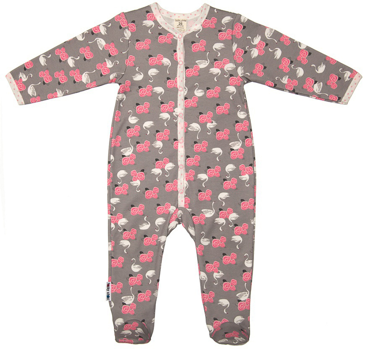 Комбинезон домашний детский Luky Child, цвет: серый. А2-103/цв. Размер 62/68А2-103/цвДетский комбинезон Lucky Child - очень удобный и практичный вид одежды для малышей. Комбинезон выполнен из натурального хлопка, благодаря чему он необычайно мягкий и приятный на ощупь, не раздражают нежную кожу ребенка и хорошо вентилируются, а эластичные швы приятны телу малыша и не препятствуют его движениям. Комбинезон с длинными рукавами и закрытыми ножками имеет застежки-кнопки, которые помогают легко переодеть младенца или сменить подгузник. С детским комбинезоном Lucky Child спинка и ножки вашего малыша всегда будут в тепле, он идеален для использования днем и незаменим ночью. Комбинезон полностью соответствует особенностям жизни младенца в ранний период, не стесняя и не ограничивая его в движениях!