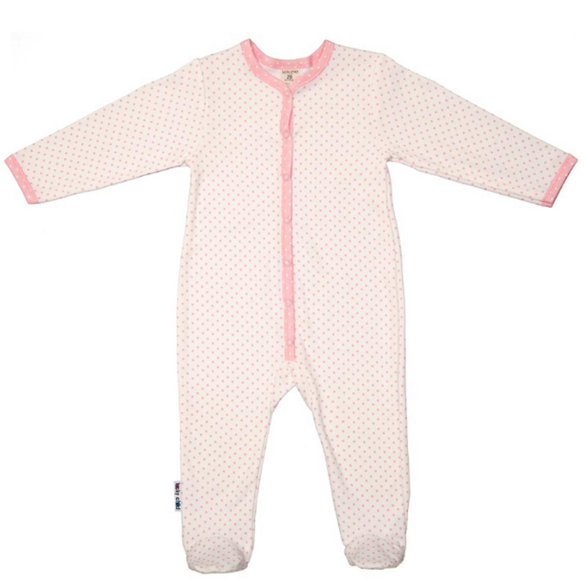 Комбинезон домашний детский Luky Child, цвет: молочный. А2-103/молочный. Размер 74/80А2-103/молочныйДетский комбинезон Lucky Child - очень удобный и практичный вид одежды для малышей. Комбинезон выполнен из натурального хлопка, благодаря чему он необычайно мягкий и приятный на ощупь, не раздражают нежную кожу ребенка и хорошо вентилируются, а эластичные швы приятны телу малыша и не препятствуют его движениям. Комбинезон с длинными рукавами и закрытыми ножками имеет застежки-кнопки, которые помогают легко переодеть младенца или сменить подгузник. С детским комбинезоном Lucky Child спинка и ножки вашего малыша всегда будут в тепле, он идеален для использования днем и незаменим ночью. Комбинезон полностью соответствует особенностям жизни младенца в ранний период, не стесняя и не ограничивая его в движениях!