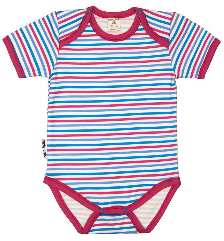 Боди детское Luky Child, цвет: розовый, молочный. А6-119. Размер 74/80А6-119Детское боди Lucky Child с короткими рукавами послужит идеальным дополнением к гардеробу малыша в теплое время года, обеспечивая ему наибольший комфорт. Боди изготовлено из натурального хлопка, благодаря чему оно необычайно мягкое и легкое, не раздражает нежную кожу ребенка и хорошо вентилируется, а эластичные швы приятны телу малыша и не препятствуют его движениям. Удобные застежки-кнопки на плечиках и ластовице помогают легко переодеть младенца и сменить подгузник. Боди оформлено принтом в полоску. Изделие полностью соответствует особенностям жизни малыша в ранний период, не стесняя и не ограничивая его в движениях. В нем ваш ребенок всегда будет в центре внимания.
