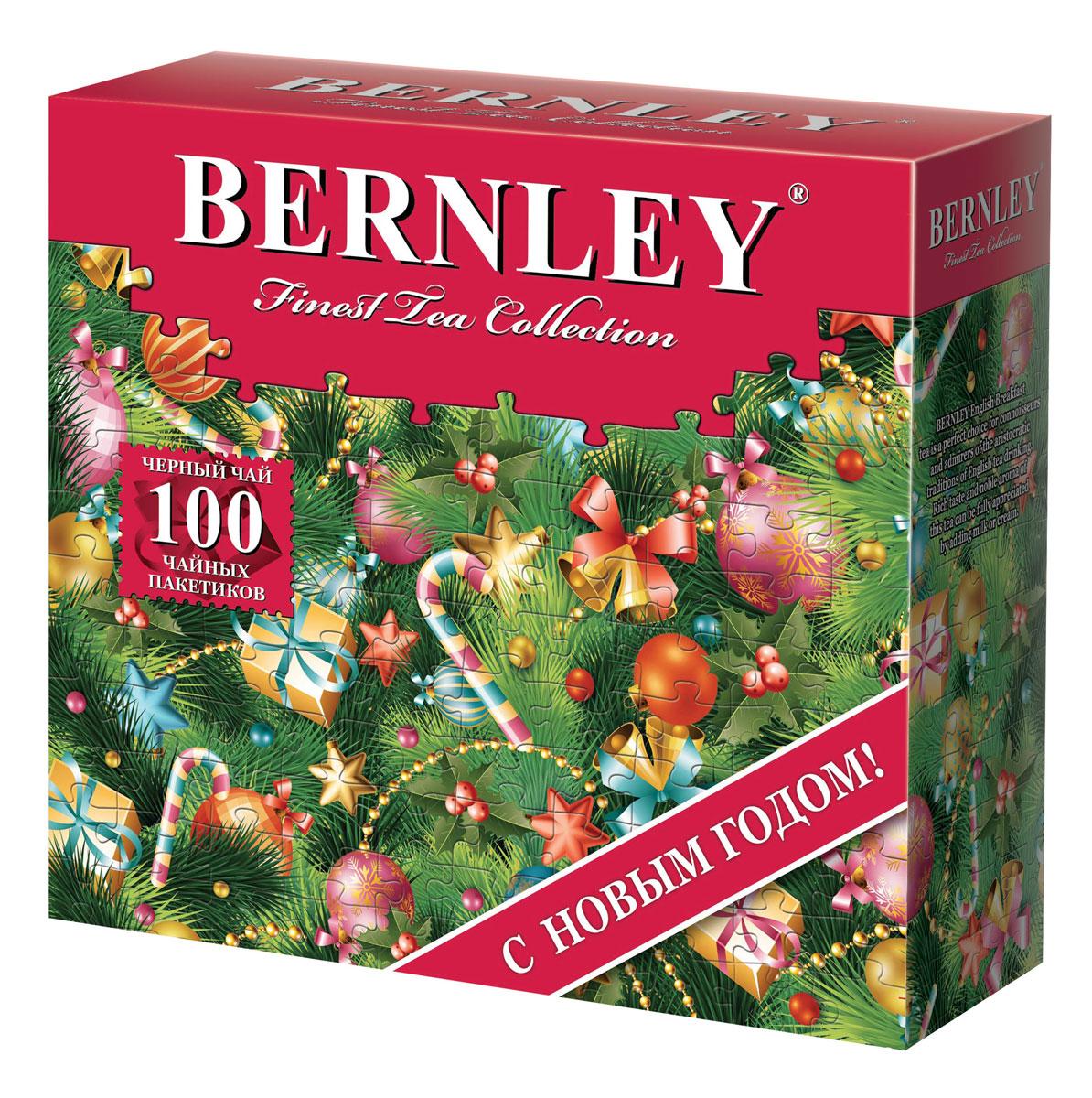 Bernley English Breakfast Новый год чай черный, 100 шт greenfield classic breakfast черный листовой чай 100 г