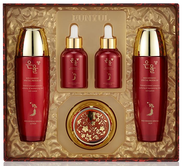 EUNYUL, Набор с экстрактом красного женьшеня, Red Ginseng (тоник, 150 мл + лосьон, 150 мл + эссенция, 50 мл + крем для кожи вокруг глаз, 50 мл + крем, 50 г)