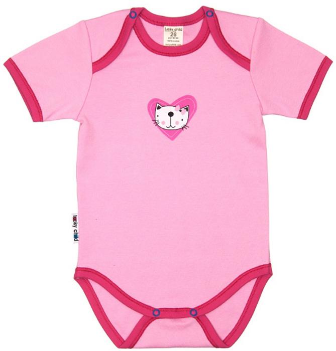 Боди детское Luky Child, цвет: розовый. А6-119/розовый. Размер 80/86А6-119/розовыйДетское боди Lucky Child с короткими рукавами послужит идеальным дополнением к гардеробу малыша в теплое время года, обеспечивая ему наибольший комфорт. Боди изготовлено из натурального хлопка, благодаря чему оно необычайно мягкое и легкое, не раздражает нежную кожу ребенка и хорошо вентилируется, а эластичные швы приятны телу малыша и не препятствуют его движениям. Удобные застежки-кнопки на плечиках и ластовице помогают легко переодеть младенца и сменить подгузник. Боди спереди оформлено принтом в виде кошачьей мордочки. Изделие полностью соответствует особенностям жизни малыша в ранний период, не стесняя и не ограничивая его в движениях. В нем ваш ребенок всегда будет в центре внимания.