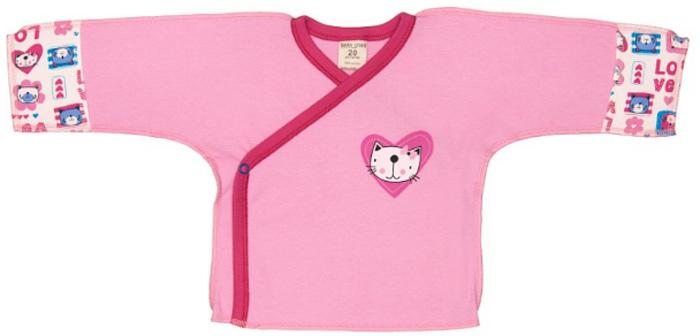 Распашонка детская Luky Child, цвет: розовый. А6-107/розовый. Размер 56/62А6-107/розовыйРаспашонка-кимоно Lucky Child послужит идеальным дополнением к гардеробу вашего ребенка. Распашонка, изготовленная из натурального хлопка, необычайно мягкая и легкая, не раздражает нежную кожу ребенка и хорошо вентилируется, а эластичные швы, выполненные наружу, приятны телу младенца и не препятствуют его движениям. Модель с V-образным вырезом горловины и длинными рукавами-кимоно оформлена принтом. Также распашонка дополнена специальными отворотами на рукавах и застегивается на металлические застежки-кнопки по принципу кимоно. В таком кимоно вашему ребенку будет уютно и комфортно!