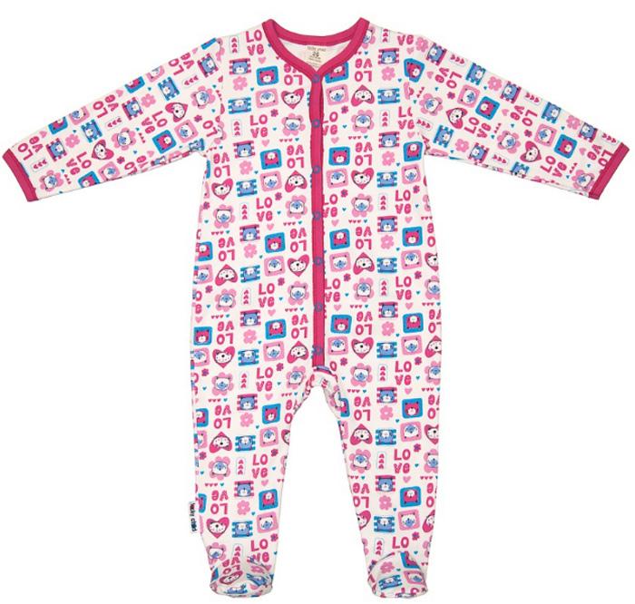 Комбинезон домашний детский Luky Child, цвет: розовый, молочный. А6-103. Размер 80/86А6-103Детский комбинезон Lucky Child - очень удобный и практичный вид одежды для малышей. Комбинезон выполнен из натурального хлопка, благодаря чему он необычайно мягкий и приятный на ощупь, не раздражают нежную кожу ребенка и хорошо вентилируются, а эластичные швы приятны телу малыша и не препятствуют его движениям. Комбинезон с длинными рукавами и закрытыми ножками имеет застежки-кнопки, которые помогают легко переодеть младенца или сменить подгузник. С детским комбинезоном Lucky Child спинка и ножки вашего малыша всегда будут в тепле, он идеален для использования днем и незаменим ночью. Комбинезон полностью соответствует особенностям жизни младенца в ранний период, не стесняя и не ограничивая его в движениях!