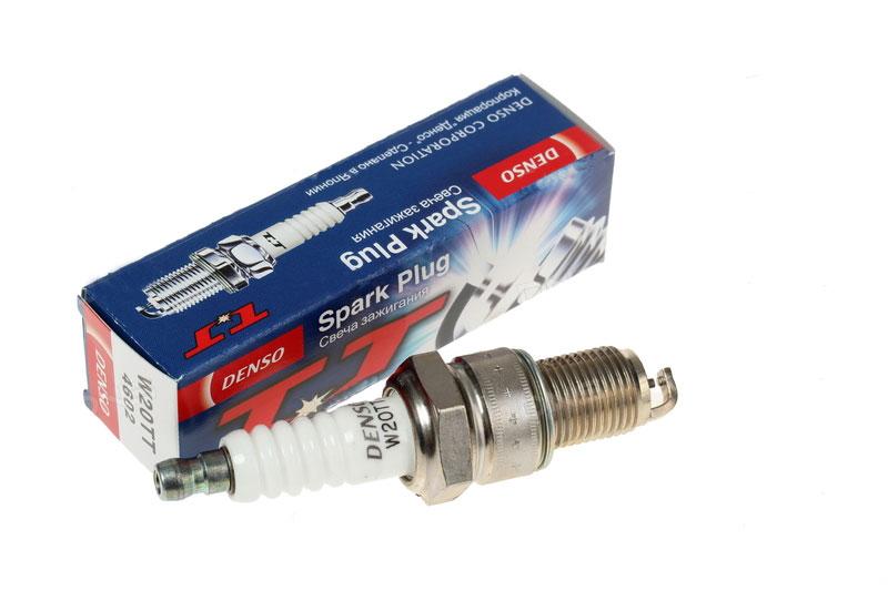 Свеча зажигания DENSO W20TTW20TTСвеча зажигания Denso W20TT с улучшенным искрообразованием практически достигают эффективности высококачественных иридиевых свечей, при этом не используя дорогостоящих драгоценных металлов. Благодаря исключительно тонкому центральному электроду диаметром 1,5 мм производимая искра получается намного более сильной, улучшая эффективность зажигания, что особенно важно при низких температурах.Результатом улучшенного искрообразования является более устойчивый процесс сгорания, что в свою очередь приводит к меньшему расходу топлива и значительному снижению выбросов CO и CH. Подходит для Fiat Panda, Opel Astra / Corsa / Omega.