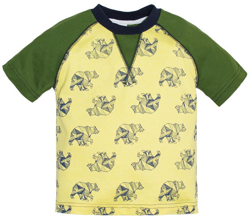Футболка для мальчика Lets Go, цвет: светло-желтый, светло-зеленый. 5225. Размер 985225Футболка для мальчика Lets Go выполнена из хлопка и оформлена принтом. Модель с круглым вырезом горловины и короткими рукавами.