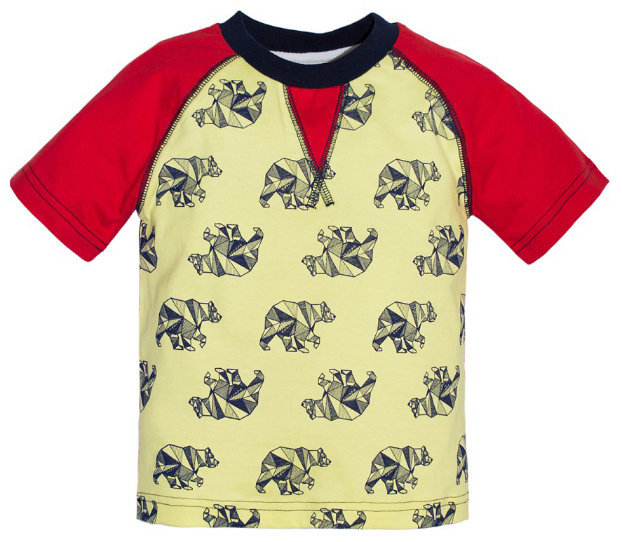 Футболка для мальчика Lets Go, цвет: светло-желтый, красный. 5225. Размер 985225Футболка для мальчика Lets Go выполнена из хлопка и оформлена принтом. Модель с круглым вырезом горловины и короткими рукавами.