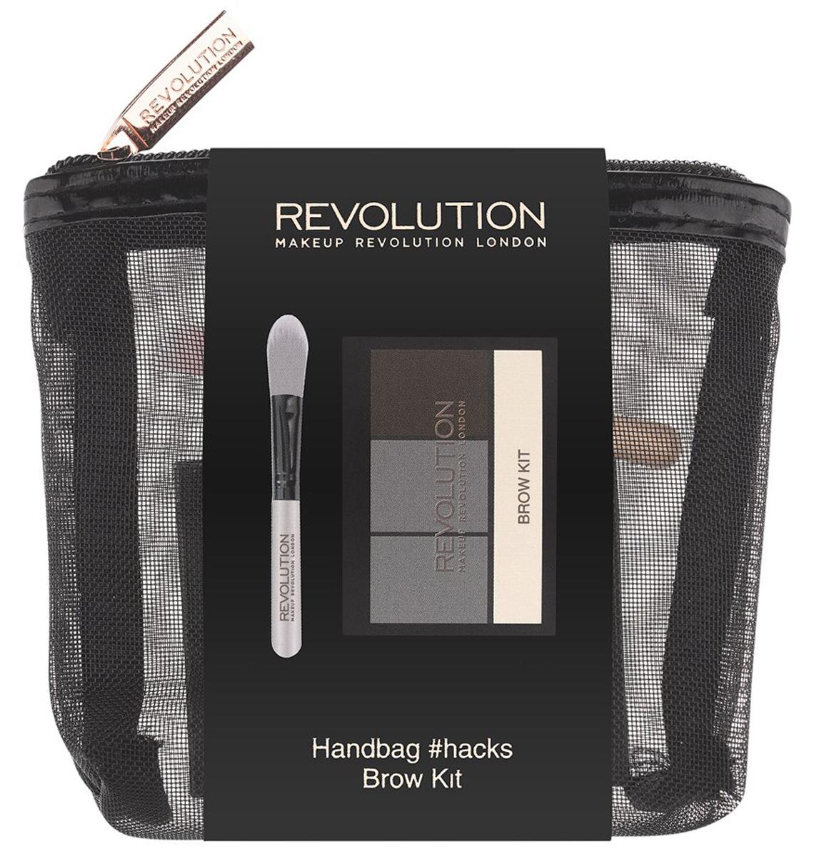 Makeup Revolution Набор для макияжа Handbag #hacks Brow Kit20219WOW-брови с набором Handbag #Hacks Brow Kit - это легко! Палетка Brow Kit с 2 оттенками теней для бровей, фиксирующим воском и хайлайтером, а также мини-кисть для их нанесения и растушевки - в стильной компактной косметичке.