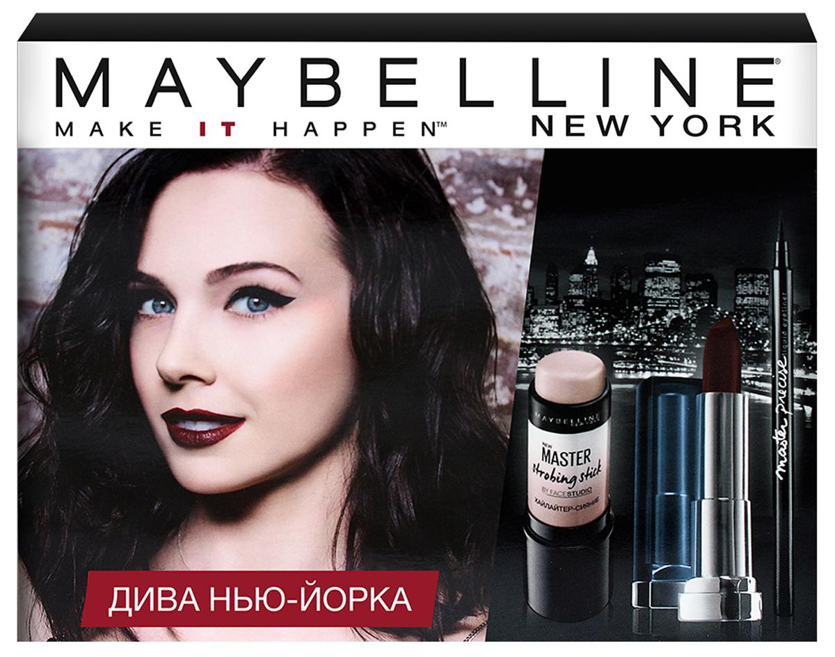 """Maybelline New York Лимитированный набор """"Дива Нью Йорка: хайлайтер-стик Master Strobing 01, лайнер Master Precise черный, помада Color Sensational 978"""" от Lizaonair"""