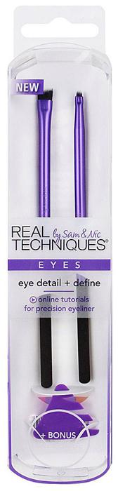 Real Techniques Набор для макияжа глаз Eye Detail + Define1531MКисти № 1 в Великобритании. В составе набора для макияжа глаз Eye Detail + Define: кисть для нанесения подводки definer brush, кисть для детальной проработки макияжа глаз square detailer brush и трафарет для нанесения подводки.
