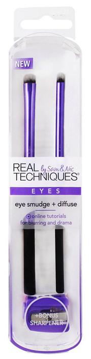 Real Techniques Набор для макияжа глаз Eye Smudge + Diffuse1530MКисти № 1 в Великобритании. В составе набора для макияжа глаз Eye Smudge + Diffuse: кисть smudge brush для макияжа глаз и проработки линии вдоль роста ресниц, кисть precision smudge brush для нанесения продуктов для макияжа глаз вдоль ресничного контура, точилка.