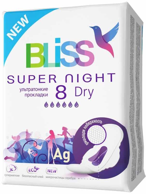 Bliss Ультратонкие прокладки Dry Super Night, 8 шт0102