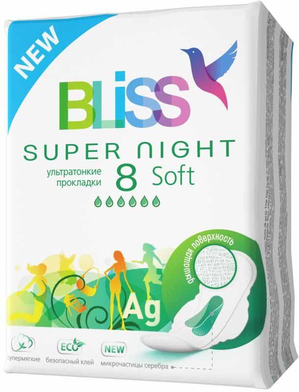 Bliss Ультратонкие прокладки Soft Super Night, 8 шт0218