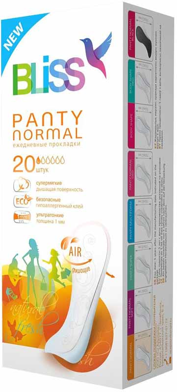 Bliss Ежедневные гигиенические прокладки Panty Normal, 20 шт. 0058 natracare ежедневные прокладки panty liners mini 30 шт