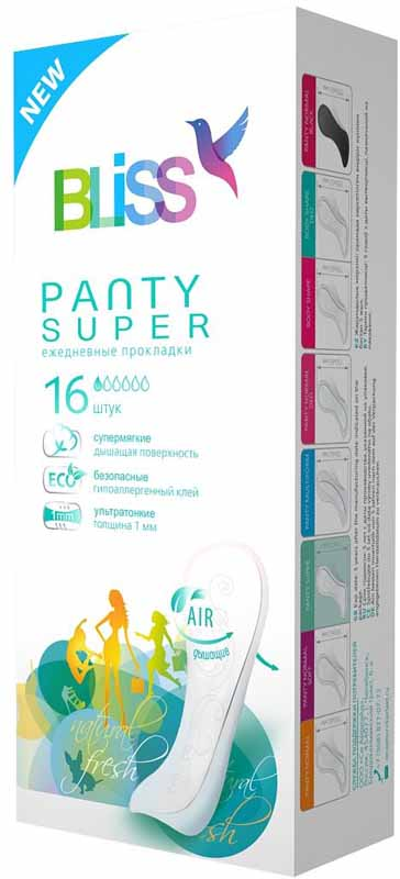 Bliss Ежедневные гигиенические прокладки Panty Super, 16 шт natracare ежедневные прокладки panty liners mini 30 шт
