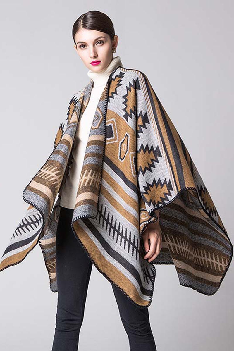 Пончо женское Bradex Беж, цвет: бежевый, серый. AS 0287. Размер 150 х 130 см шапка женская bradex цвет бежевый as 0301 размер универсальный