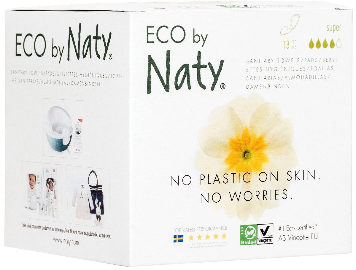 Прокладки Naty (Найти), гигиенические, Super, 13 шт.7330933080200О бренде:Компания Naty основана в Швеции матерью двух мальчиков Марлен Сандберг. В результате для малышей и их мам была создана новая, экологически чистая продукция из натурального воспроизводимого сырья, отвечающая высоким запросам потребителей по качеству, эффективности и дизайну. Компания представляет широкий ассортимент товаров личной гигиены из натуральных материалов для детей и женщин, а также детский текстиль. Вся продукция шведской компании Naty изготовлена из натуральных органических материалов, не содержит никаких вредных химических компонентов. Материалы, которые используются для производства, проходят все необходимые тесты на аллергические реакции.Продукция Naty - это выбор ответственных родителей, заботящихся о здоровье своих детей и окружающей природе.Описание:В состав прокладок и ежедневок входят исключительно природные возобновляемые материалы, без содержания хлора и ароматизаторов, с использованием плёнки на основе кукурузного крахмала, без ГМО, без пластика, 100% биоразлагаемы. Отбеливание целлюлозы без применения хлора.Состав женских прокладок Naty:• Целлюлоза,• Гелеобразующий материал,• Биопленка на основе кукурузного крахмала,• БИО Клей.