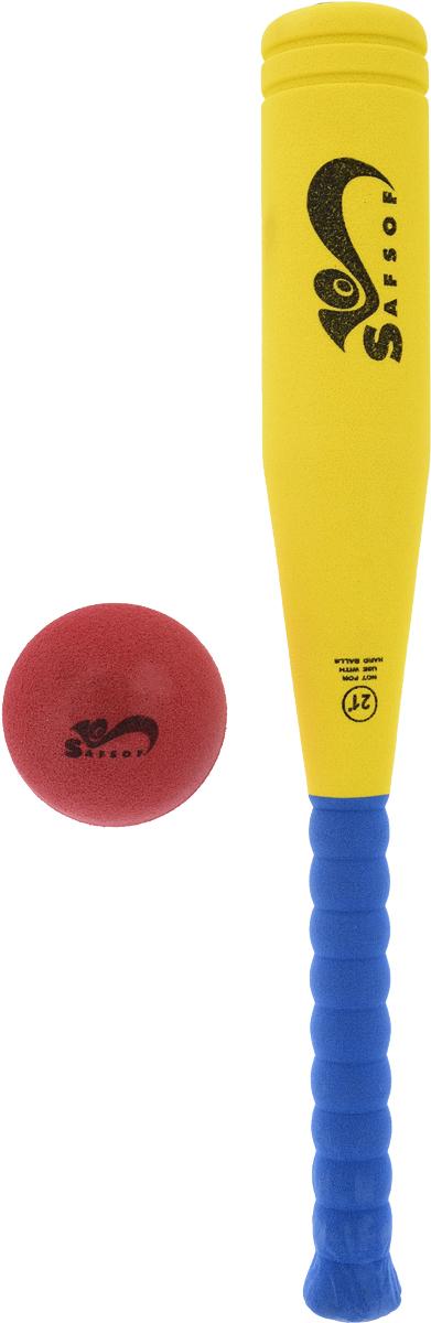 Safsof Игровой набор бейсбольная бита мяч цвет желтый синий красный