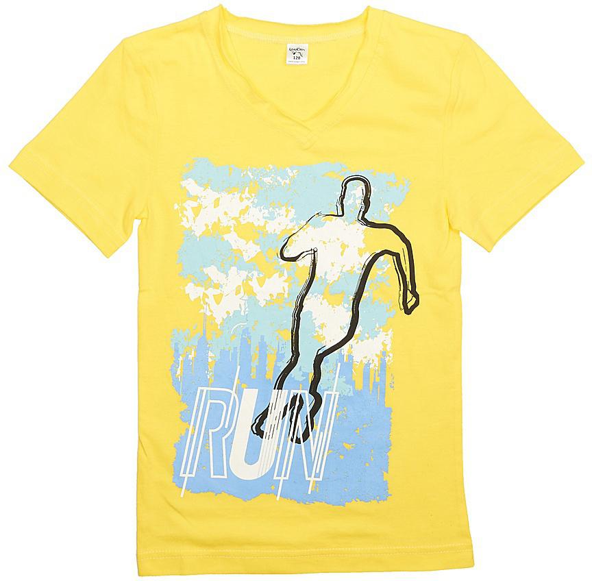 Футболка для мальчика LeadGen, цвет: желтый. B113020215-171. Размер 158B113020215-171Футболка для мальчика LeadGen выполнена из натурального хлопкового трикотажа. Модель с короткими рукавами и круглым вырезом горловины спереди оформлена принтом.