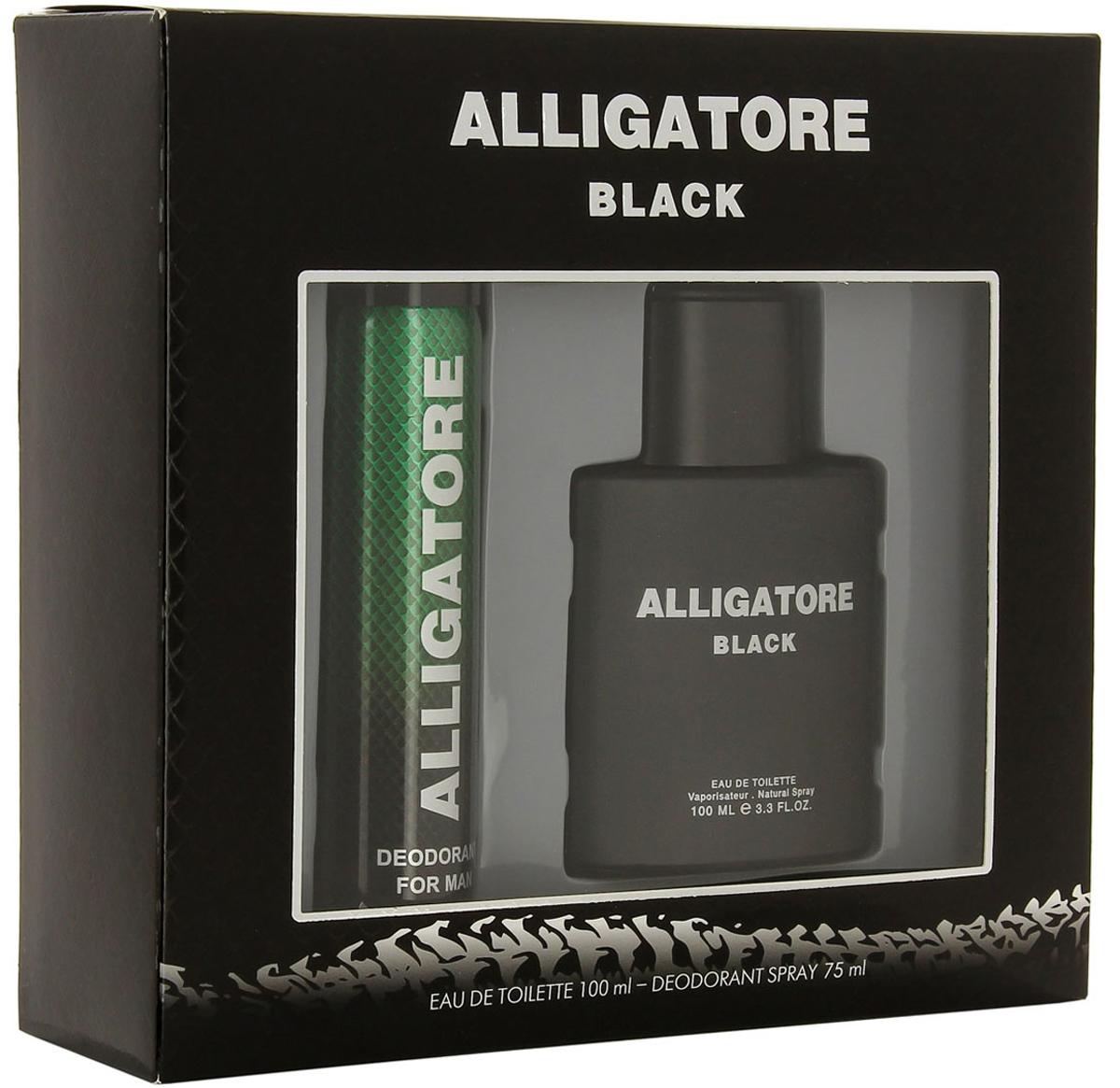 """КПК-Парфюм Подарочный набор для мужчин """"Аллигатор Блэк"""": Туалетная вода, 100 мл + Парфюмированный дезодорант, 75 мл"""