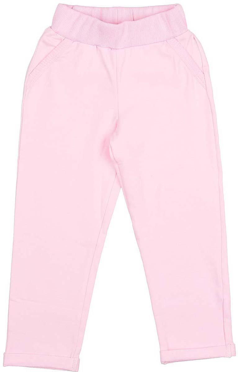 Брюки для девочки LeadGen, цвет: розовый. G211010516-171. Размер 110G211010516-171Брюки для девочки LeadGen выполнены из хлопкового эластичного трикотажа. Модель прямого кроя с эластичной резинкой на талии по бокам дополнена карманами.