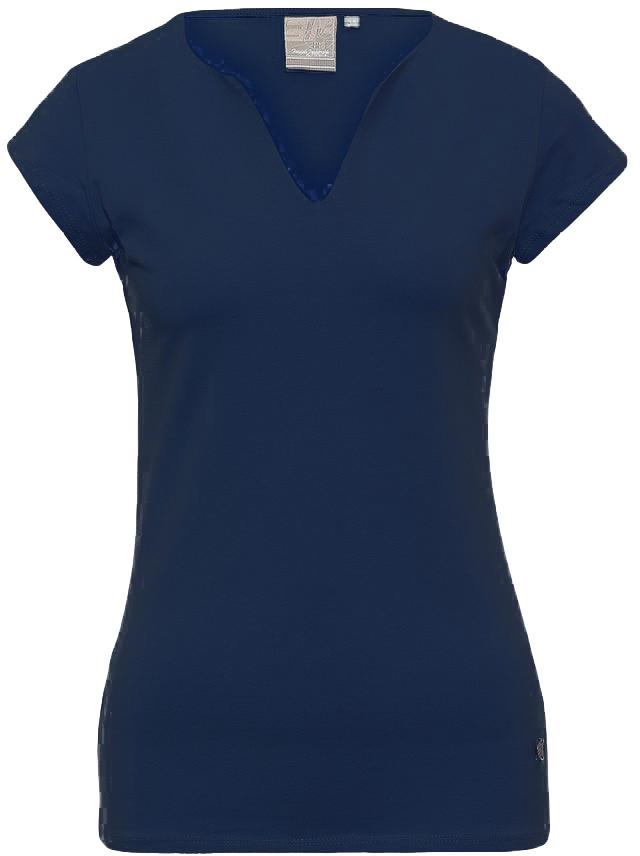 Футболка женская Icepeak, цвет: синий. 754723591IV. Размер 34 (40)754723591IVСтильная футболка Icepeak изготовлена из натурального хлопка с добавлением эластана. Модель прямого кроя выполнена с V-образной горловиной и короткими рукавами.