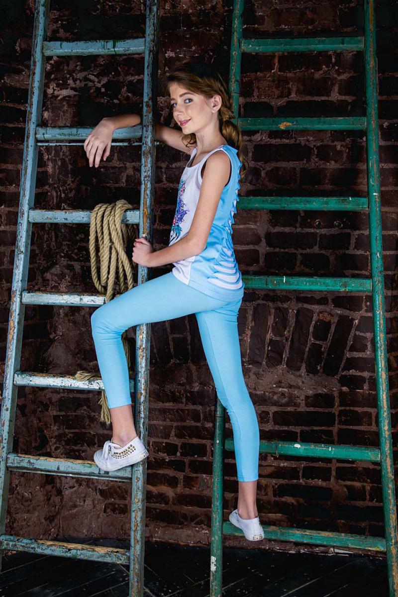 Леггинсы для девочки LeadGen, цвет: голубой. G320035401-171. Размер 116G320035401-171Леггинсы для девочки LeadGen выполнены из хлопкового эластичного трикотажа. Модель облегающего кроя с эластичной резинкой на талии.