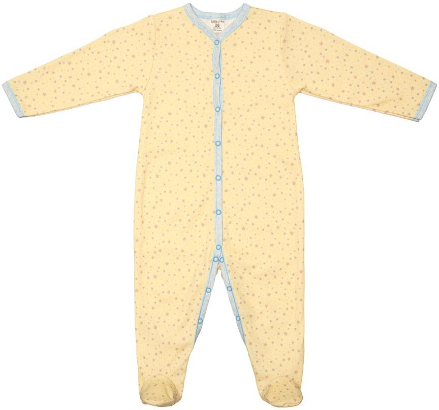 Комбинезон домашний детский Luky Child, цвет: желтый. А1-101. Размер 80/86А1-101Детский комбинезон Lucky Child - очень удобный и практичный вид одежды для малышей. Комбинезон выполнен из натурального хлопка, благодаря чему он необычайно мягкий и приятный на ощупь, не раздражают нежную кожу ребенка и хорошо вентилируются, а эластичные швы приятны телу малыша и не препятствуют его движениям. Комбинезон с длинными рукавами и закрытыми ножками имеет застежки-кнопки от горловины до щиколоток, которые помогают легко переодеть младенца или сменить подгузник. С детским комбинезоном Lucky Child спинка и ножки вашего малыша всегда будут в тепле, он идеален для использования днем и незаменим ночью. Комбинезон полностью соответствует особенностям жизни младенца в ранний период, не стесняя и не ограничивая его в движениях!