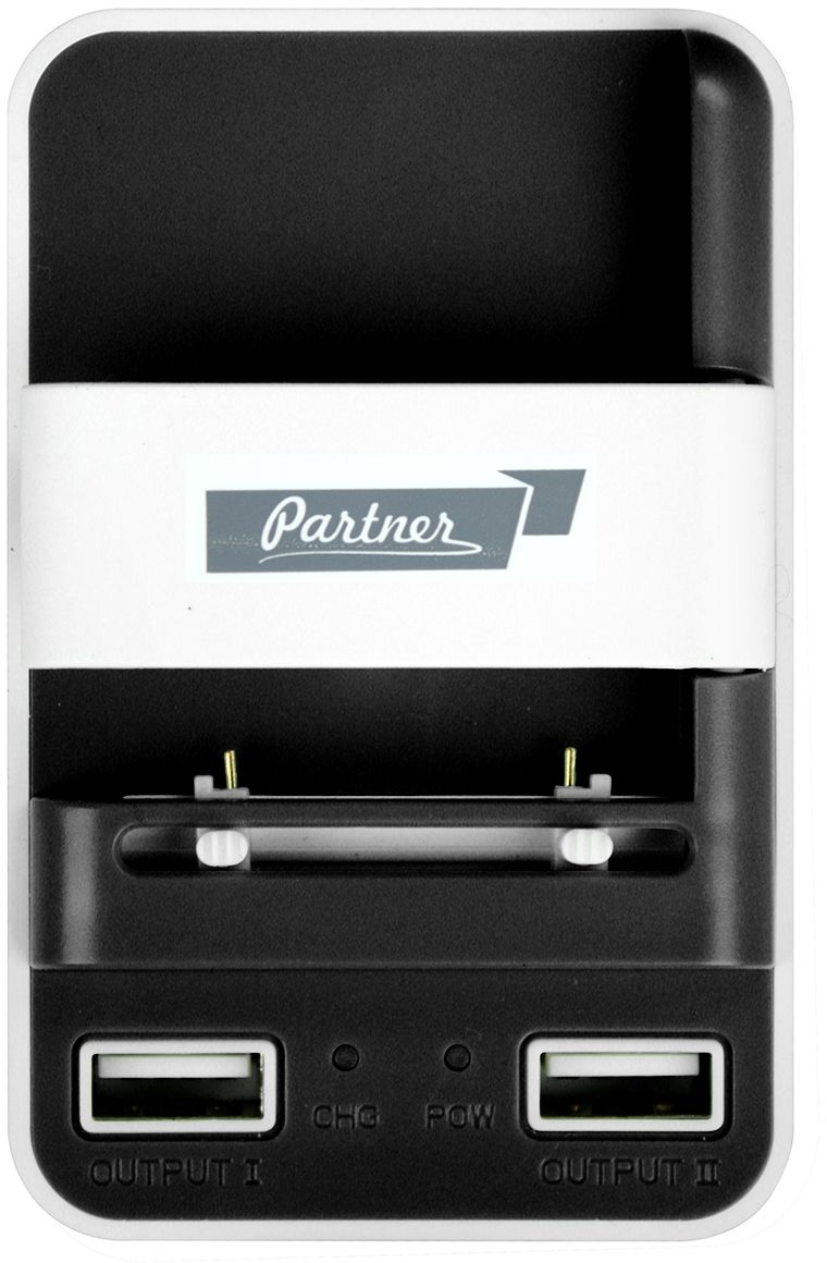 Partner Лягушка универсальное сетевое ЗУ, цвет белый черныйПР031266Универсальное зарядное устройство Partner способно заряжать любой Li-Ion аккумулятор 3,7 В. Просто соединитеконтакты батареи с зарядным устройством. Умное зарядное устройство с автоматическим выбором полярностисделает все остальное. Оно также зарядит ваши гаджеты через два встроенных USB выхода.Подвижные контакты: 4.2 В/500 мА Выходное напряжение: 5 В Максимальная сила выходного тока: 1A
