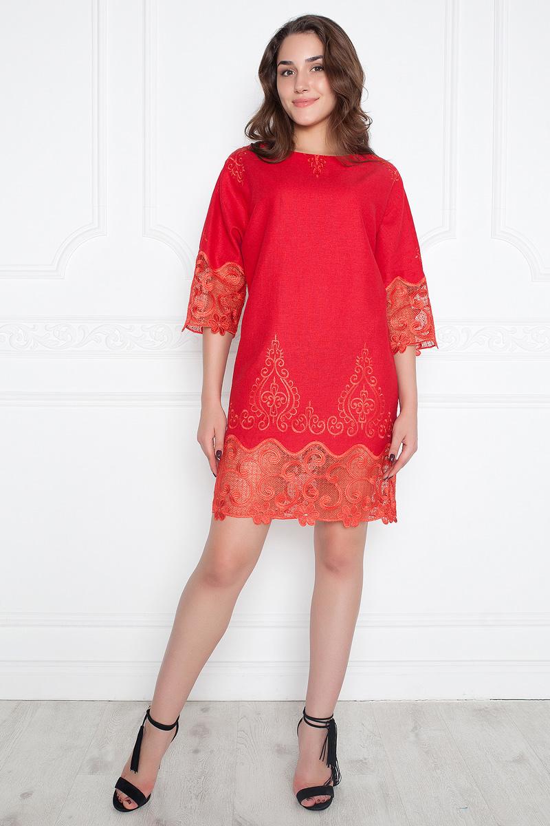 Платье Lautus, цвет: красный. 1066. Размер 461066Эффектное платье от Lautus прямого силуэта. Выполнено из натурального льна с вышивкой. Вырез лодочка обработан внутренней обтачкой. Цельнокроеные рукава 3/4 оканчиваются высокими манжетами. Низ рукавов и подол декорированы нежным ажурным кружевом однотонной расцветки. Стильно, женственно, удобно.