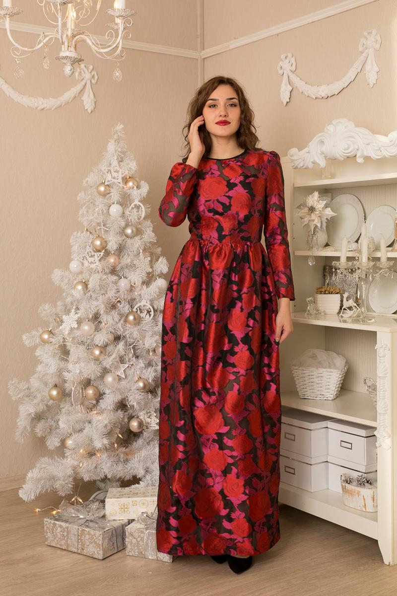 Платье Lautus, цвет: красный. 923. Размер 44923Женственное платье в пол от Lautus приталенного силуэта. Модель с круглым вырезом горловины и длинными рукавами на спинке застегивается на потайную молнию.