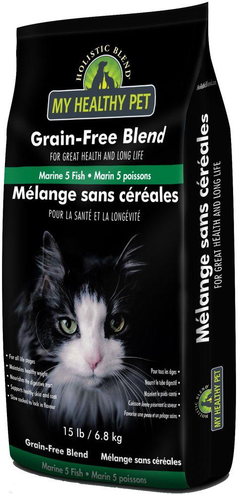 Корм сухой Holistic Blend Grain-Free, для кошек, 5 морских рыб, беззерновой, 6,8 кг корм сухой holistic blend grain free для кошек 5 морских рыб беззерновой 6 8 кг