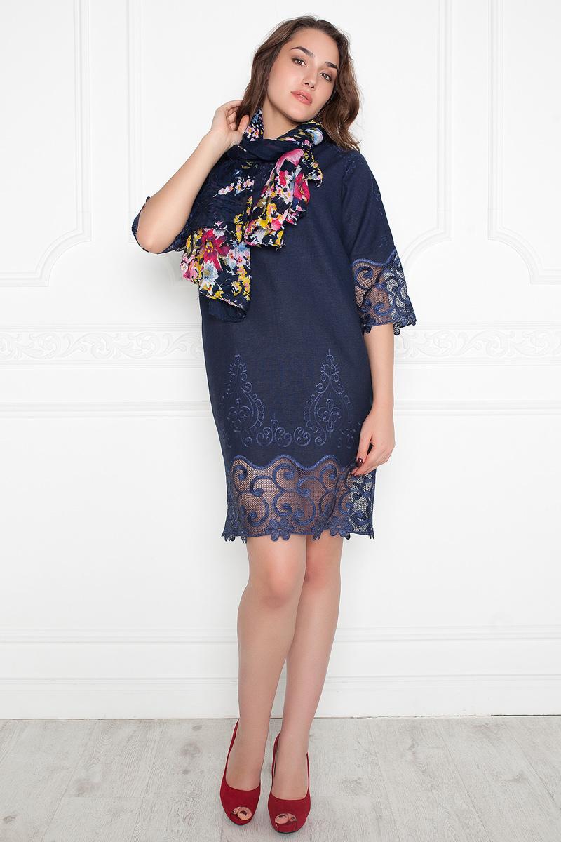 Платье Lautus, цвет: синий. 1065. Размер 541065Эффектное платье от Lautus прямого силуэта. Выполнено из натурального льна с вышивкой. Вырез лодочка обработан внутренней обтачкой. Цельнокроеные рукава 3/4 оканчиваются высокими манжетами. Низ рукавов и подол декорированы нежным ажурным кружевом однотонной расцветки. Стильно, женственно, удобно.