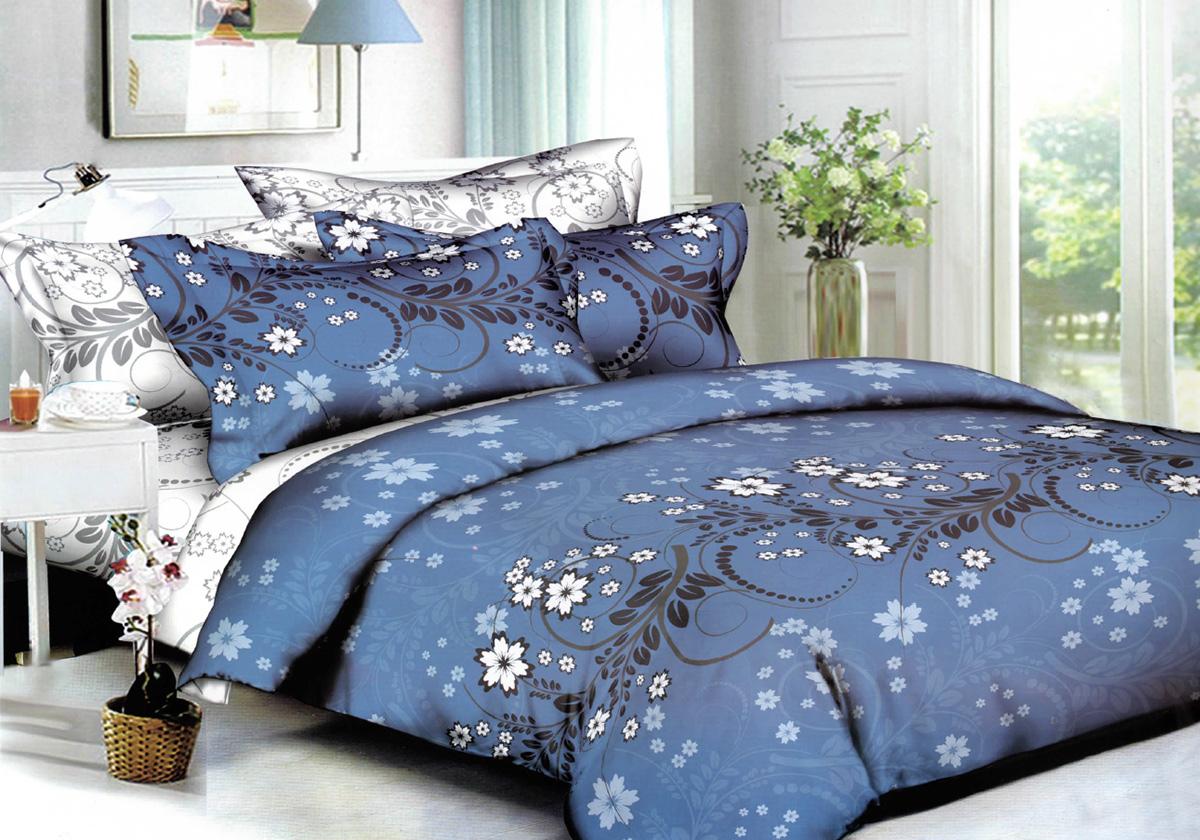 Комплект белья Soft Line, 2-спальный, наволочки 50х70, цвет: синий. 60196019Постельное белье SL из сатина с декоративной отделкой