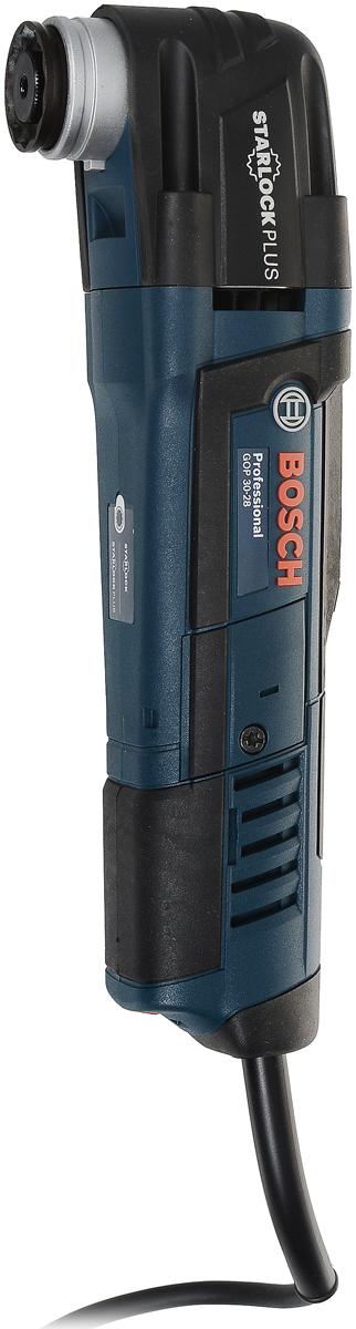 Реноватор Bosch GOP 30-28 Set0601237003Многофункциональный инструмент BOSCH GOP 30-28 в кейсе с 12 предметами оснастки - предназначен для вырезания отверстий, распиливания небольших заготовок, шлифовки, полировки, а также зачистки различных поверхностей.Этот инструмент выгодно отличается превосходной эргономичностью: он практичен, легок и прост в обращении. Плавная предустановка частоты вращения с функцией Eco-Electronicобеспечивает высокоточную работу. Насадки фиксируются с помощью зажимного винта. Мощность - 300Вт; Угол колебаний - 2.8 (2x1.4)°; Число колебательных движений холостого хода - 8.000-20.000 (колебаний/мин).Как выбрать мультитул. Статья OZON Гид