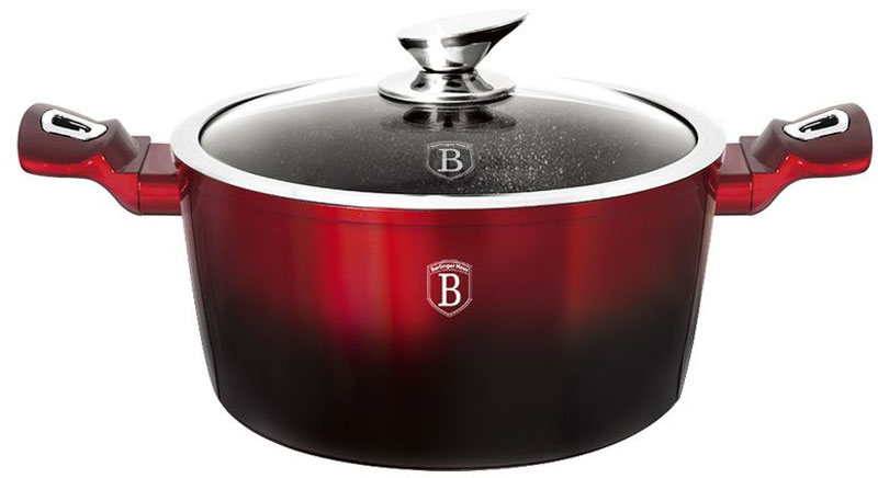 Кастрюля Berlinger Haus Metallic Line с крышкой, с антипригарным покрытием, цвет: красный, черный, 4,1 л1628N-ВНКастрюля со стеклянной крышкой 24*11,8см, 4,1л, кованый алюминий, толщина стенок 0,5 см, 3 слоя мраморного покрытия эргономичная ручка, индукционное дно, цвет: черно-красный. Подходит для всех видов плит: газовых, электрических, стеклокерамических, галогенных, индукционных.