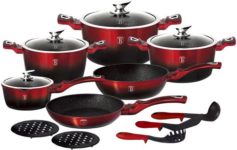 Набор посуды Berlinger Haus Metallic Line, с антипригарным покрытием, цвет: красный, черный, 15 предметов1632N-ВННабор посуды Berlinger Haus «Metallic Line» состоит из 15 предметов: сковорода: 28 x 5,2 см, глубокая сковорода: 24 x 6,5 см, кастрюля с крышкой, 2,5 л: 20 х 10 см, кастрюля с крышкой, 4,1 л: 24 х 12 см, кастрюля с крышкой, 6,1л: 28 x 12,5 см, ковш с крышкой: 16 х 8,5 см, бакелитовые подставки: 2 шт, кухонные принадлежности: 3 шт, эргономическая ручка с покрытием. Мраморное покрытие, индукционное дно. Подходит для всех видов плит: газовых, электрических, стеклокерамических, галогенных, индукционных.