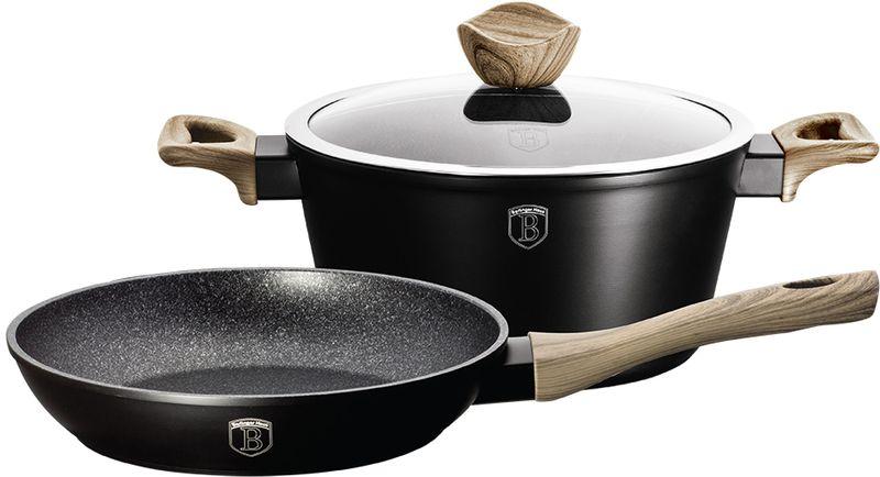 Набор посуды Berlinger Haus Forest Line, с антипригарным покрытием, цвет: черный, 3 предмета. 1725-BH1725-ВННабор посуды 3 предмета, сковорода диаметр 24*4,8см, кастрюля с крышкой диаметр 24*11,8см, 4,1л., кованый алюминий, толщина стенок 0,5 см, 3 слоя мраморно-гранитного покрытия, эргономичная ручка soft touch, индукционное дно, цвет: матовый черный/светлое дерево. Подходит для всех видов плит: газовых, электрических, стеклокерамических, галогенных, индукционных.