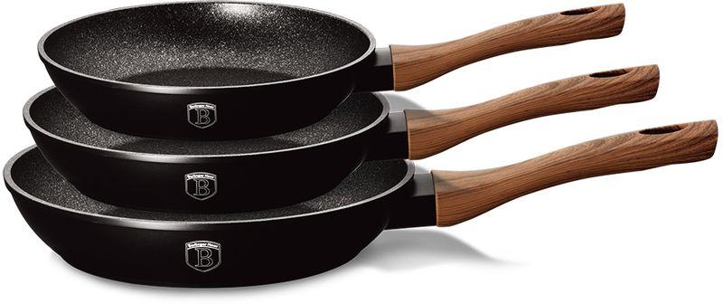 Набор сковородок Berlinger Haus  Forest Line , с антипригарным покрытием, цвет: черный, 3 шт - Посуда для приготовления